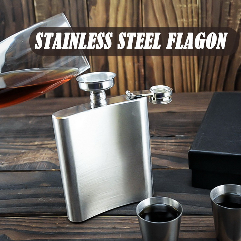 Portable Stainless Steel Hip Flask Flagon and Funnel High Quality Wine Whisky Pot Drinkware Outdoor Pocket Flasks Alcohol Bottle