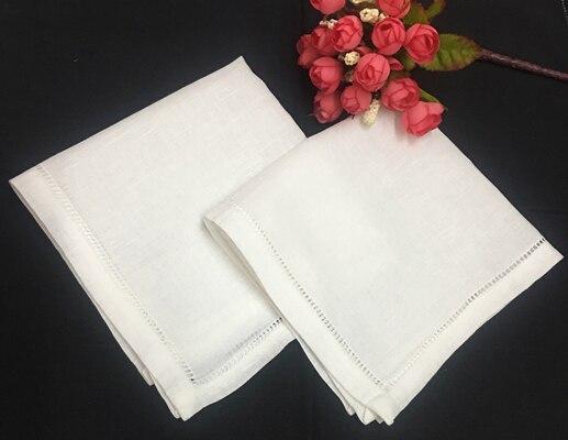 Set Of 12 Fashion White Linen Hemstitched Mens Pocket Square 12