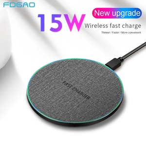 Image 1 - 15 w rápido qi carregador sem fio para xiaomi 9 huawei p30 pro rápida 10 w almofada de carregamento para samsung s9 s10 iphone x xs max xr 8 plus