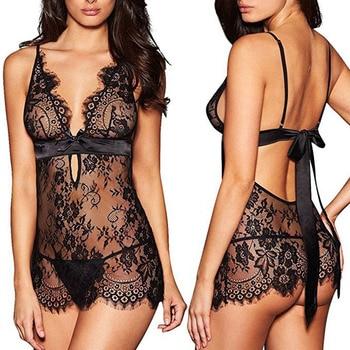 Women Lace Sexy Lingerie nightdress Black Backless Nightdress Nightwear plus size Nightgown sleepwear Erotic Underwear - discount item  15% OFF Women's Sleep & Lounge