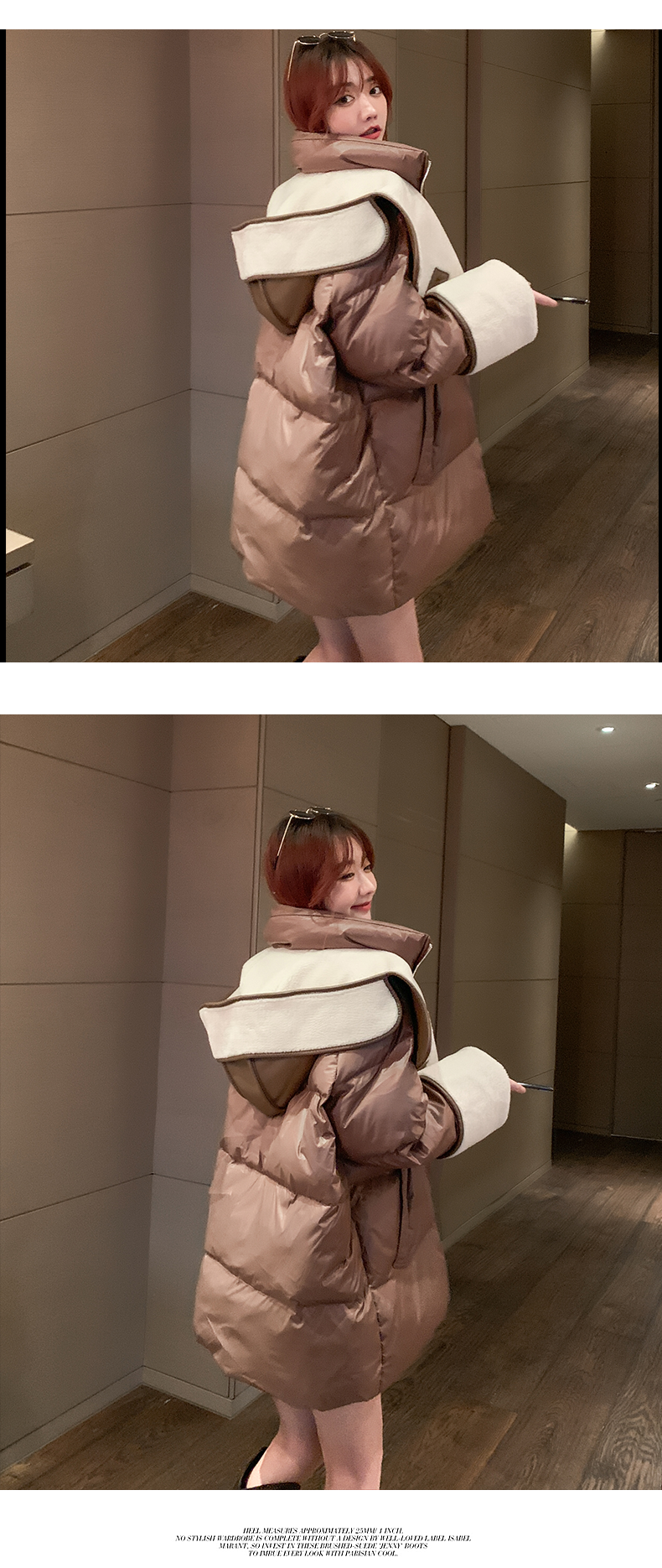 H6cda882271354acbb4c2113d3c6bdd73C 2021 winter new down jacket women new fashion mid-length loose and thin lamb hair stitching white duck down long-sleeved jacket