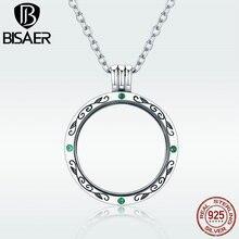 цена BISAER Memory Pendant Necklace 925 Sterling Silver Round Tree Leaves Women Floating Locket Necklaces & Pendants Jewelry GXF002 онлайн в 2017 году