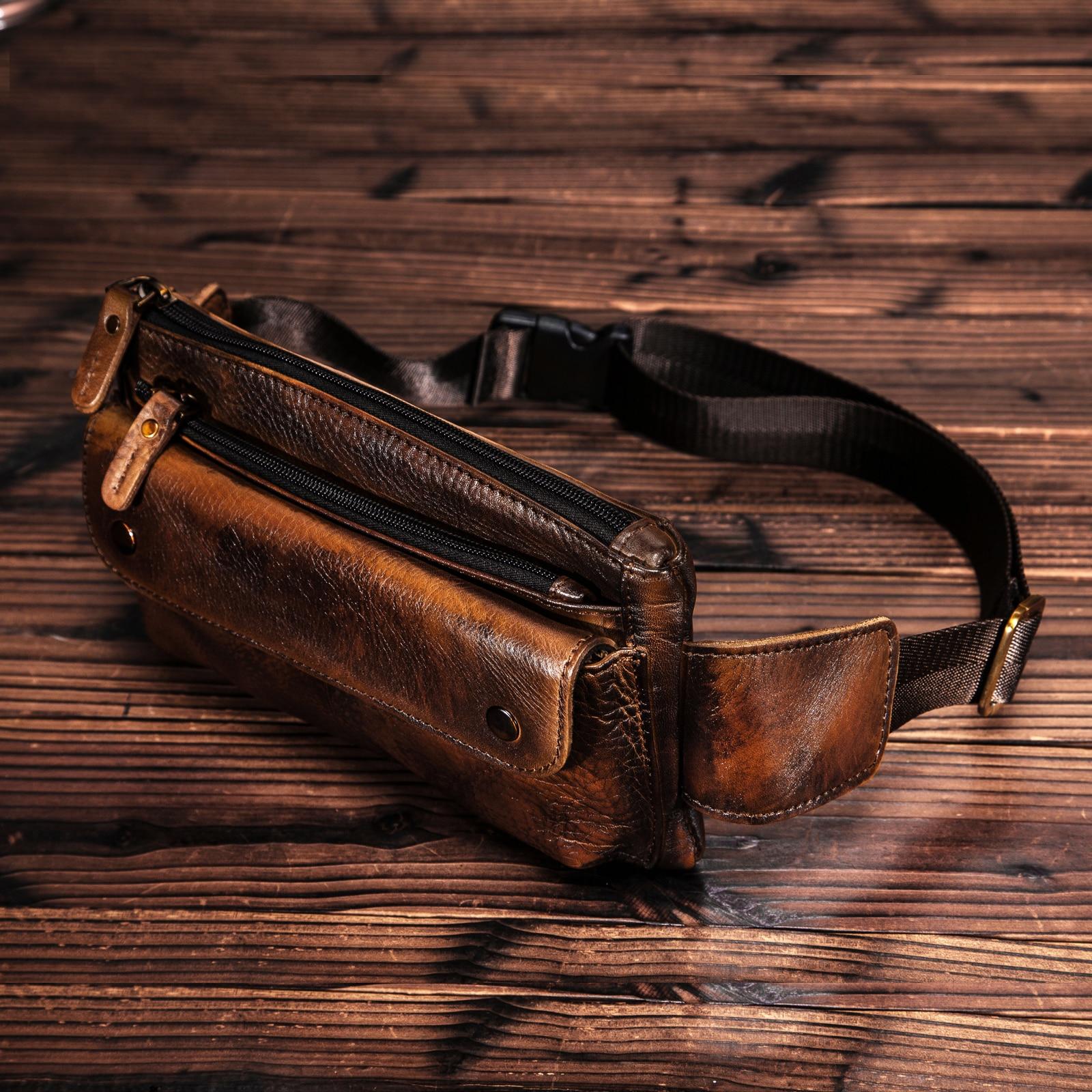 Cowhide Leather Men Casual Fashion Travel Fanny Waist Belt Bag Chest Sling Bag Design Bum 7