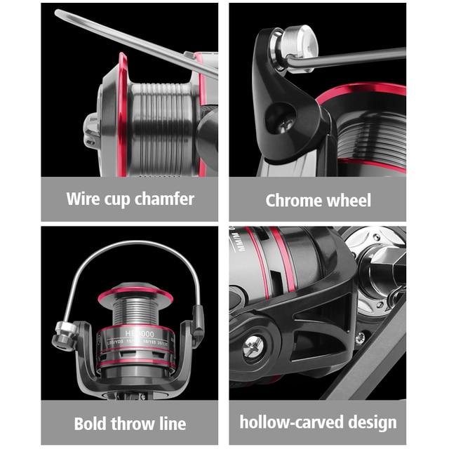 LINNHUE Fishing Reel All Metal Spool Spinning Reel 8KG Max Drag Stainless Steel Handle Line Spool Saltwater Fishing Accessories 4