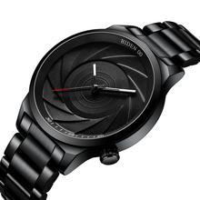 BIDEN Casual Mens Watch Creative Fashion Swirl Design Quartz Wrist Watches Waterproof Black Stainless Steel Relojes Hombre Clock