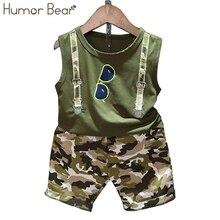 Humor Bear 2020 Summer Children Baby Boy Clothes Sets Kids 2pcs Sleeveless T-Shirt Toddler Suits Camo Shorts Child Clothing