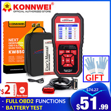KONNWEI KW850 full OBD2 Car Diagnostic Tools OBD 2 Auto Scanner Check Engine O2 sensor Battery Test OBDII Code Reader PK CR3008