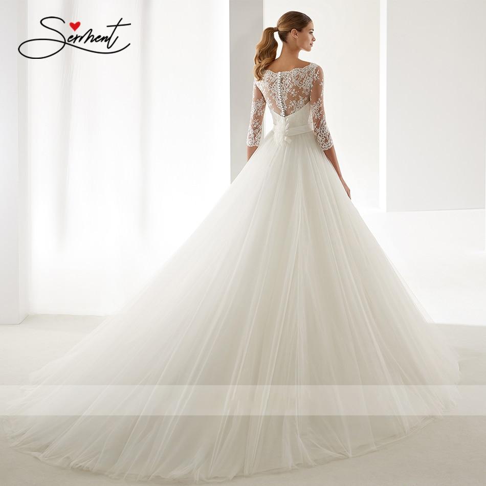 Image 3 - OllyMurs 2020 Luxury Wedding Dress Long Sleeve Turtleneck Applique Lace Wedding Noble Applique Muslim Brides Support Tailor madeWedding Dresses   -