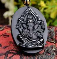 Colgante con diseño de obsidiana tallada a mano para mujer, colgante de elefante, nariz, Buda, dios de la suerte y la fortuna, collar de cuentas, joyería de regalo, color negro Natural