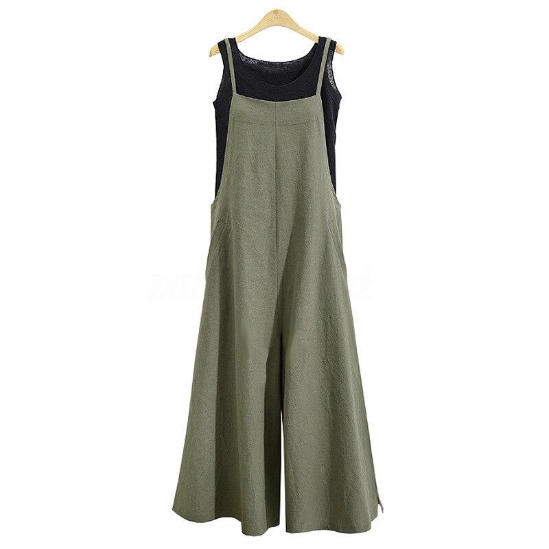 Women Casual Solid Spaghetti Straps Wide Leg Pants Pockets Loose Bib Cotton Linen Jumpsuits,Green L