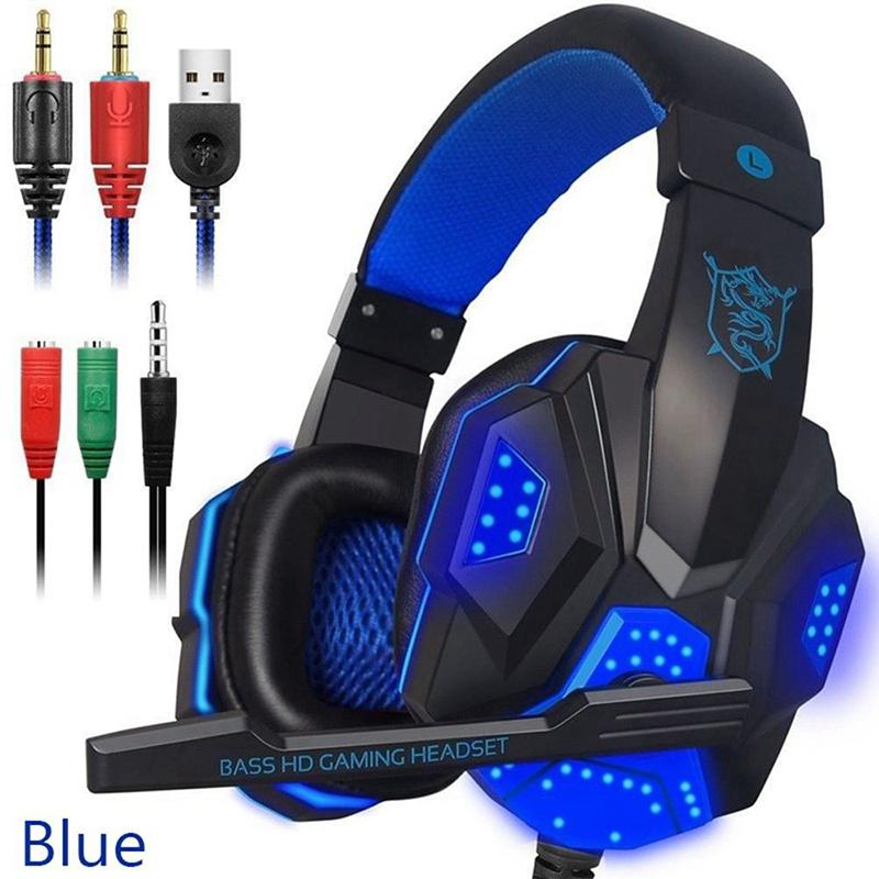 For PS4 Xbox One Computer Smart Phone Over Ear Gaming Headset Soft Earmuffs Noise Isolation Headphone With Mic LED Light image
