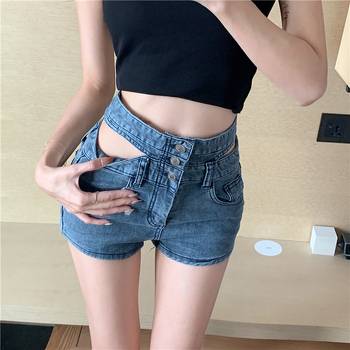 Slim Shorts High-Waisted Denim Shorts Female Pants Sexy Openwork Waist Shorts Boyfriend Jeans Skinny Jeans Woman Flare 979F high waist skinny flare jeans