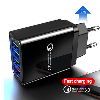 EU US UK Plug QC3.0 4USB Multi Port Quick Charger Global Mobile Phone Charger Travel Charger Fast Charging Quick Charge 3.0 48 W xiaocai x6 waterproof gsm bar phone w 1 77 screen flashlight mobile charger black olive