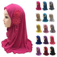 2 7 Years Old Girls Muslim Hijabs Caps With Beautiful Two Flowers Islamic Arab One Piece Instant Hijabs For Kids