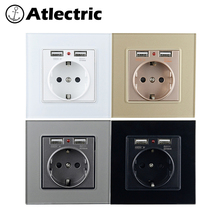 Atlectric Dual USB Port Glass Panel Luxury Power Socket 16A With Charging Port EU Standard Charger Adapter  86mm*86mm цена