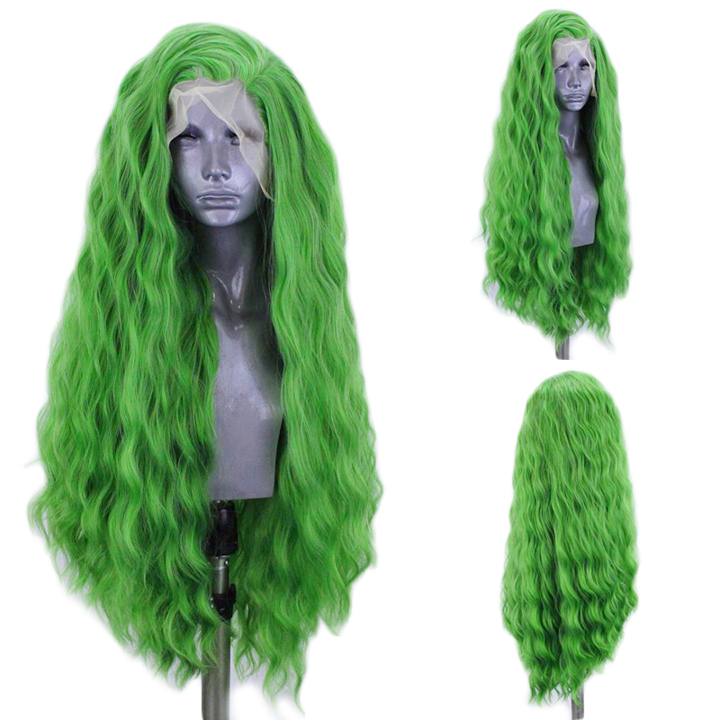 Charisma Deep Wave Wig Side Part Synthetic Lace Front Wig Heat Resistant Fiber Hair Green Wigs for Women Natural Hairline-in Synthetic None-Lace  Wigs from Hair Extensions & Wigs