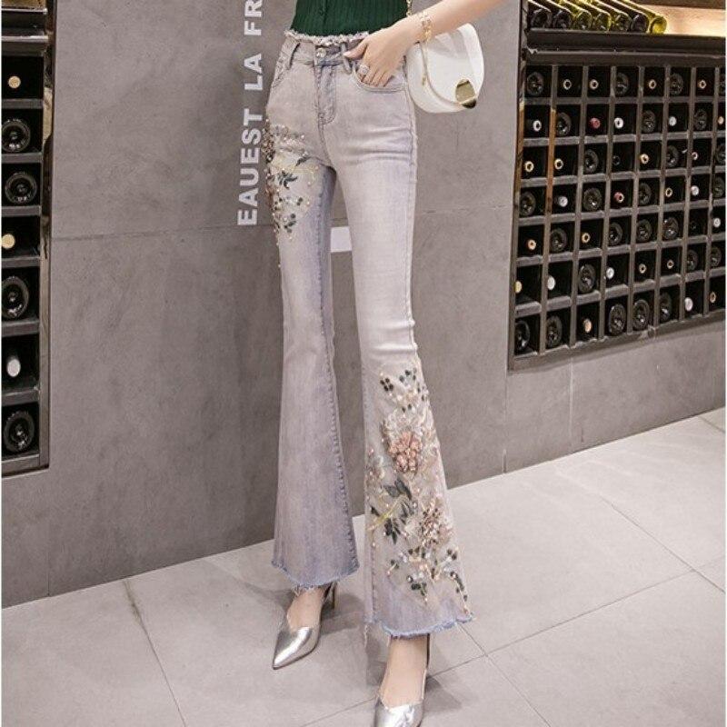 2020 New Flower Flare Jeans Women Vintage Beading Embroidery Denim Wide Leg Pants Streetwear Fashion Slim High Waist Trousers