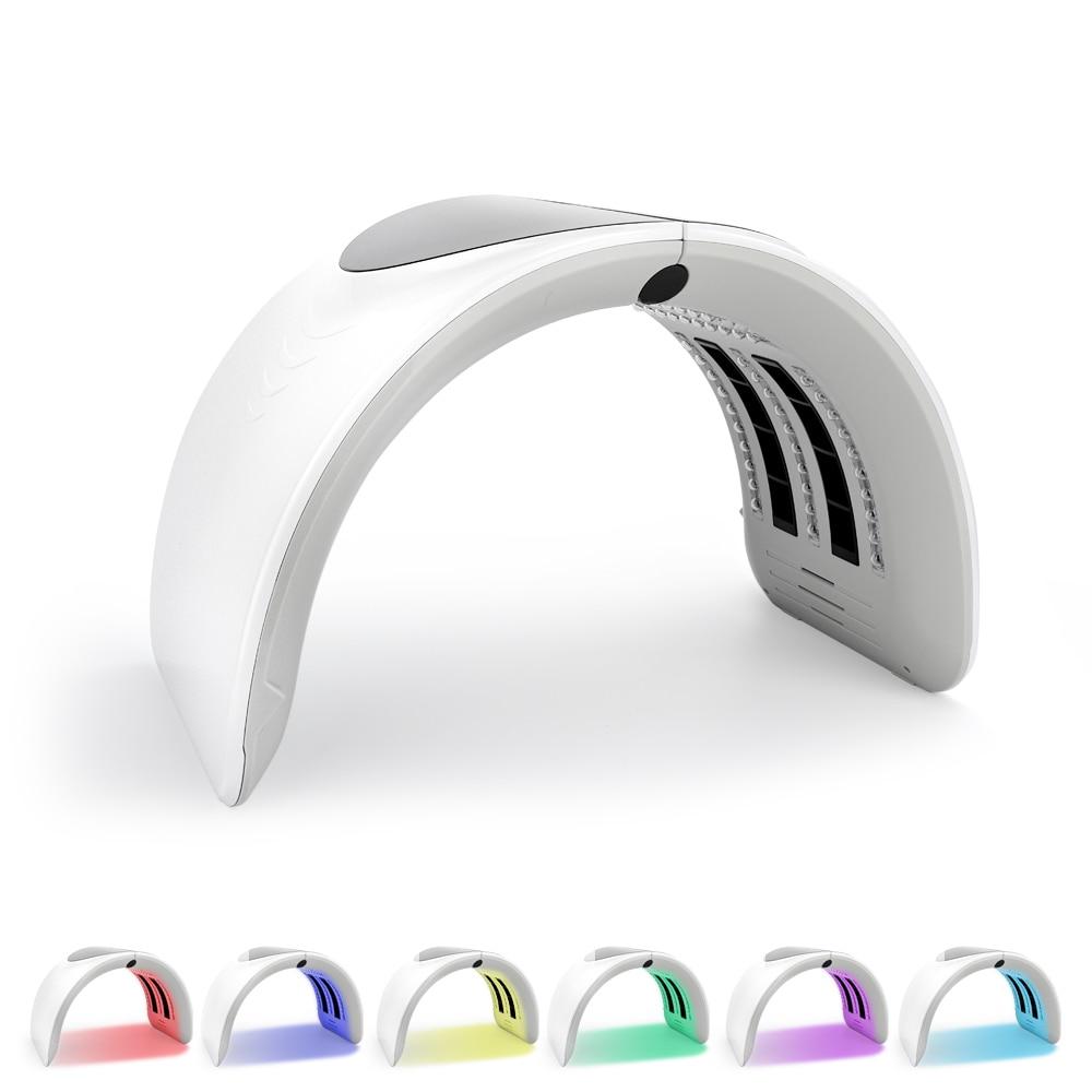 Dobrável 6 cores pdt led terapia de luz led máscara tratamento acne clareamento facial rejuvenescimento da pele led terapia máscara beleza dispositivo