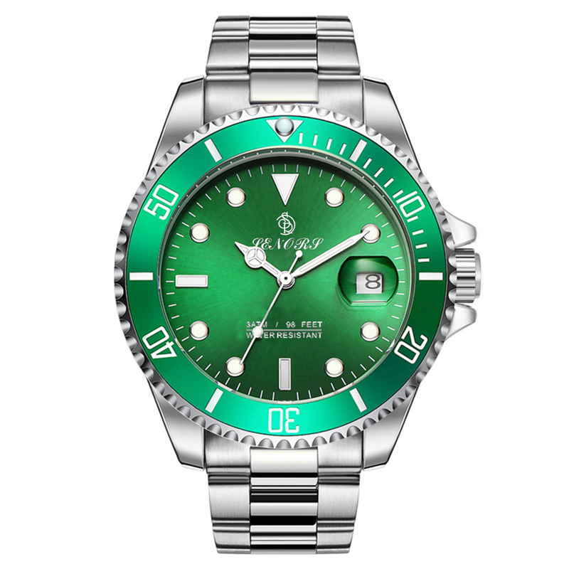 Senors Green Automatic Mechanical Men Watch Fashion Luxury Stainless Steel Male Clock Waterproof Watch  Luminous watches