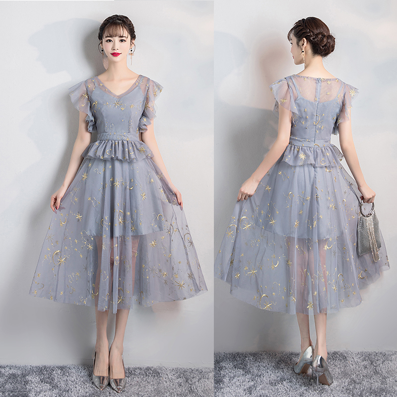 Tea-Length Plus Size Bridesmaid Dress Elegant Tulle Illusion Sleeveless Sxy Club Party Wedding Dress Prom Azul Royal Vestidos