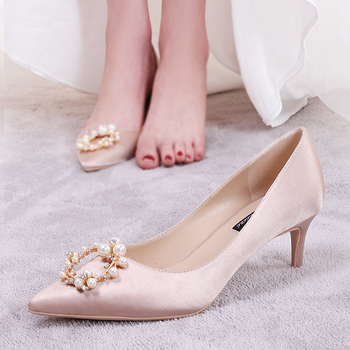 wedding shoes high heels new pearl button wedding dress pointed shoes thin heel champagne color single shoe companion shoes