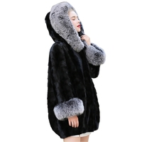 Genuine Mink Fur Coat Jacket Fox Fur Collar and Cuff Autumn Winter Women Fur Outerwear Coats Plus Size 4XL 5XL LF9111