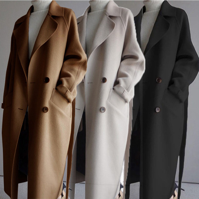 Winter Beige Elegant Wool Coat Women Korean Fashion Black Long Coats Vintage Minimalist Woolen Overcoat Camel Oversize Outwear 5
