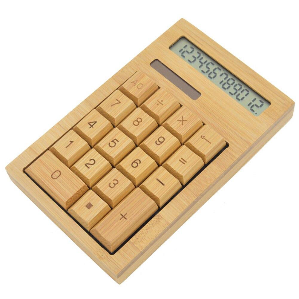 calculadora de mesa funcional energia solar calculadoras de bambu com 12 digitos grande exibicao de escritorio