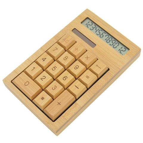 calculadora de mesa funcional energia solar calculadoras de bambu com 12 digitos grande exibicao de
