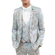 Floral Casual Suits for Men Prom 3 Piece Light Blue Slim Fit Groomsmen Tuxedo Custom Male Fashion Wedding Clothes Blazer Vest