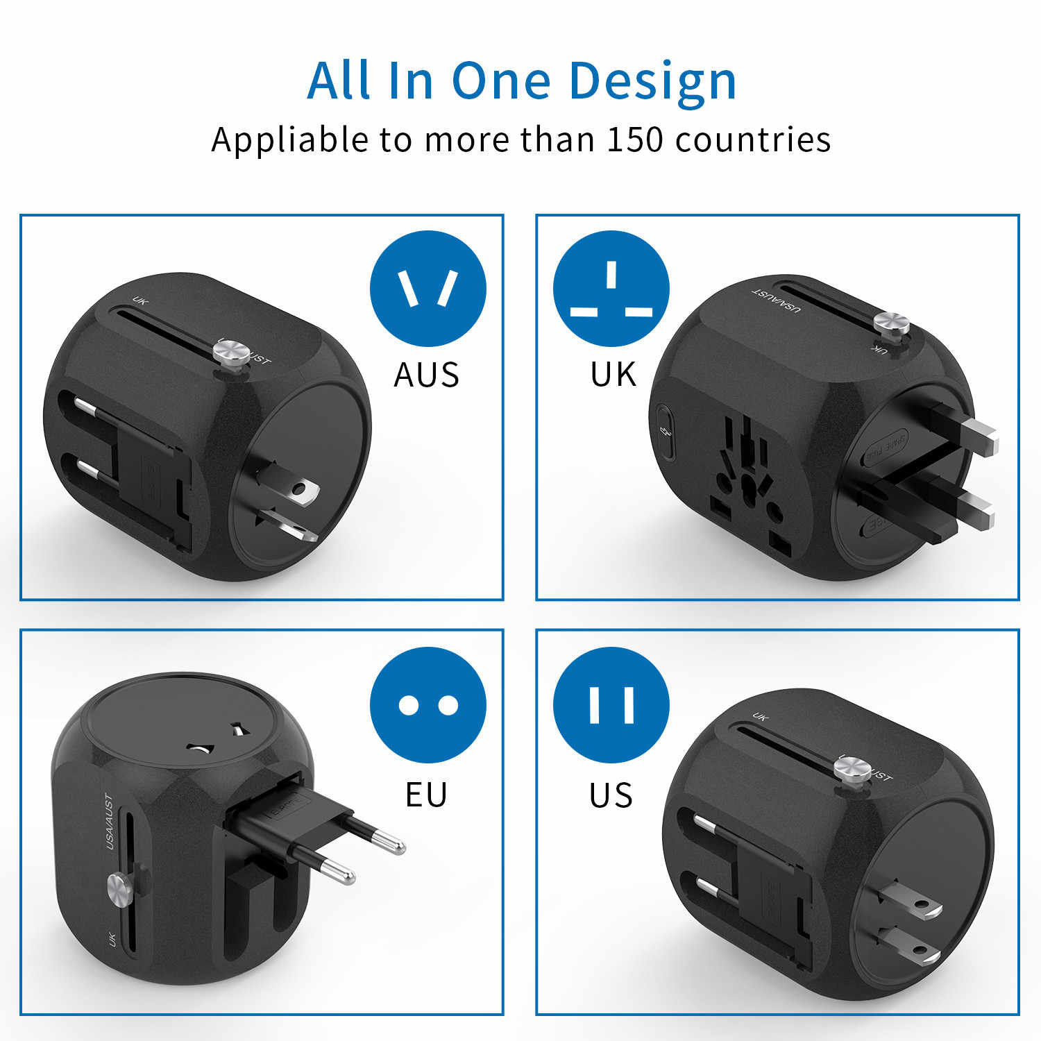 Ntonpower Adaptor Universal All-In-One International Travel Plug Adaptor dengan TYPE C QC3.0 Dinding Charger untuk US/EU/AU/UK