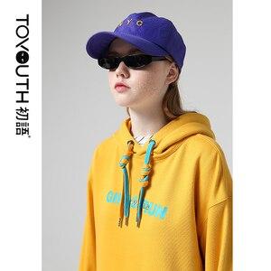 Image 2 - Toyouth moda bordado hoodies feminino outono manga longa carta impresso fatos de treino com capuz camisolas para mulheres topos
