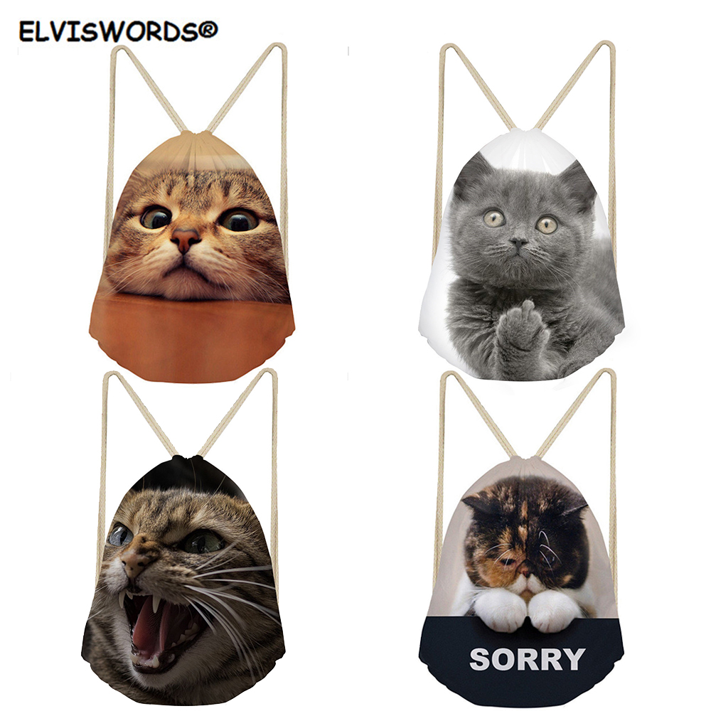 ELVISWORDS Cute Sorry Cat Printed School Backpacks Gift Sets For Kid Boys Girls Customize Picture Shoulder Bag Travel Beach Sack