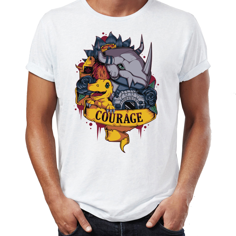 Men's T Shirt Digimon Gremon Agumon Courage Friendship Awesome Artwork Drawing Printed Tee