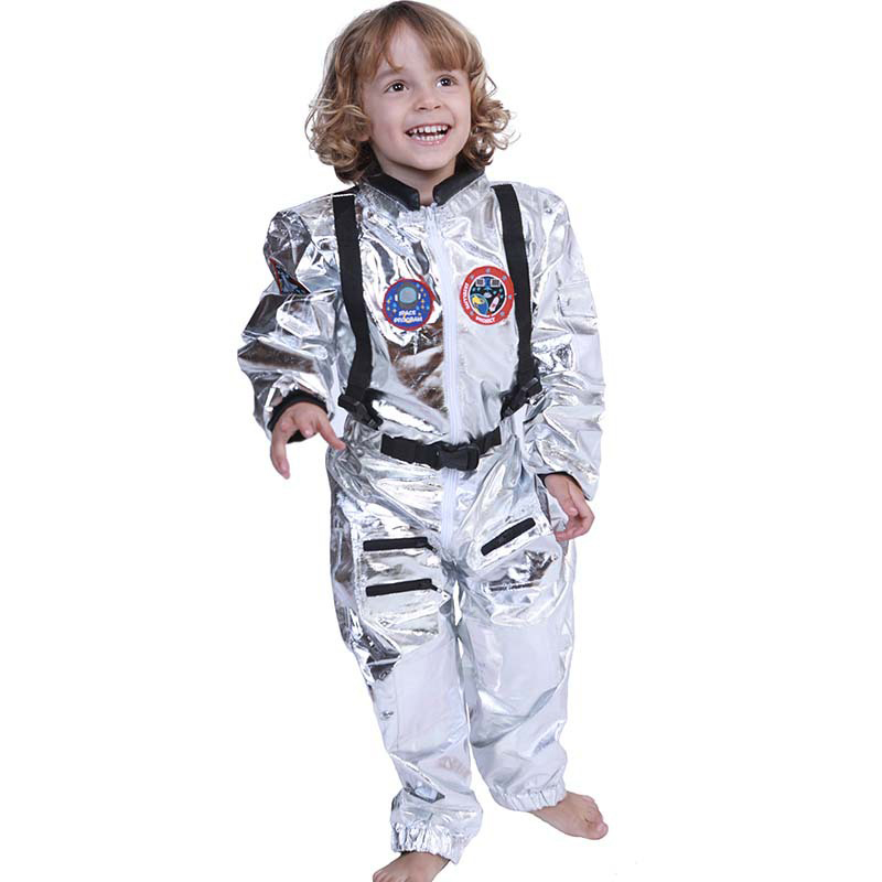 Halloween Astrinaut Cosplay Costume For Kids Carnival Party Baby Boy Girl Silver Shiny Badge Zipper Space Station Uniform