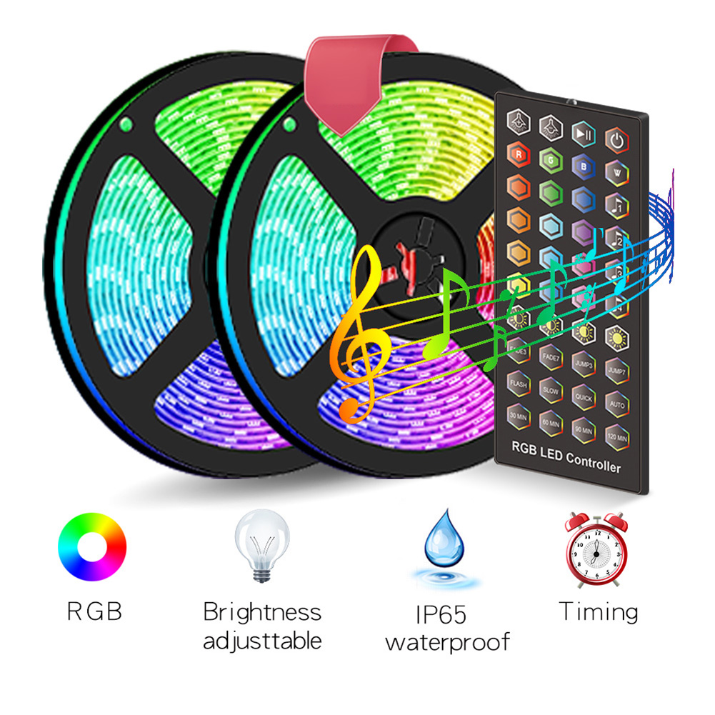 12V DC 300 LED IP65 Waterproof Colorful Light Strips Sound Control Light Tape For Bars Clubs Fish Tanks Stages Concerts