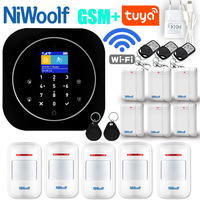 GSM Alarm System Wifi GSM Alarm Intercom Remote Control Autodial 433MHz Detectors IOS Android Tuya APP Control Touch Keyboard