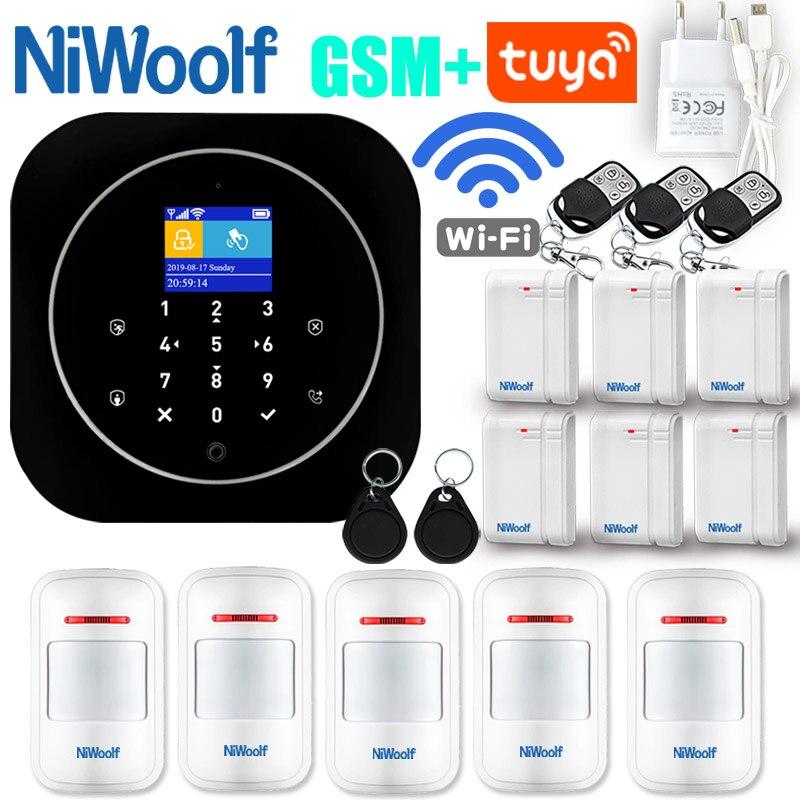 GSM Alarm System Wifi GSM Alarm Intercom Remote Control Autodial 433MHz Detectors IOS Android Tuya APP Control Touch Keyboard