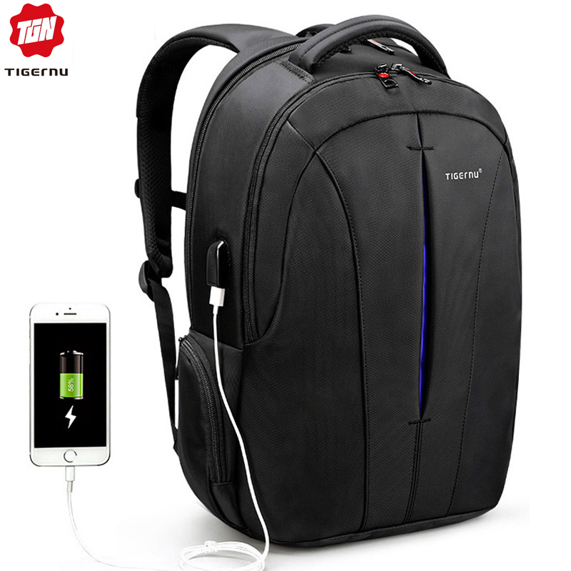 tigernu t b3105 - Tigernu USB Recharging Men 15.6 inch Laptop Backpacks Student Schoolbag For Boys Waterproof Quality Male Rucksack Mochila Bag