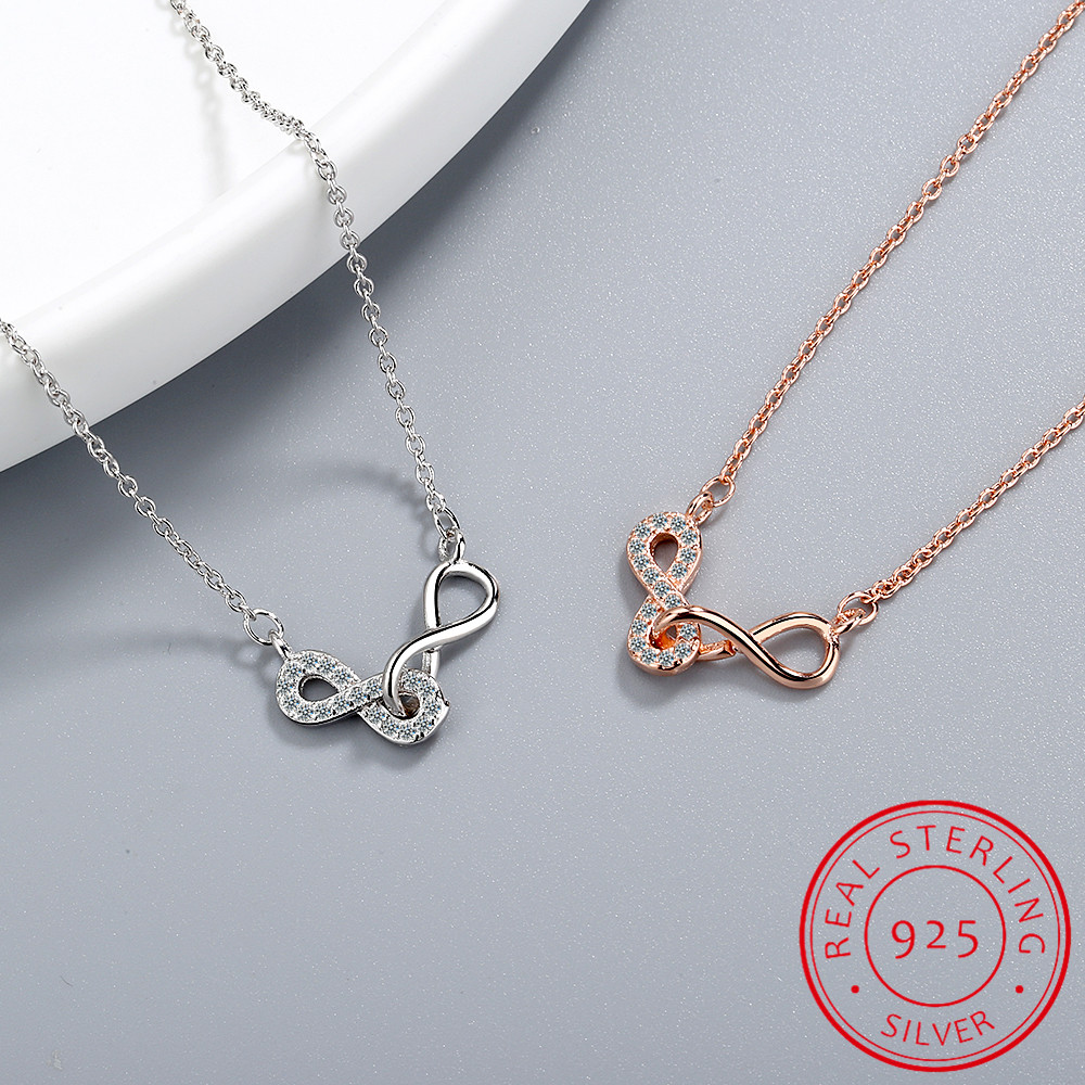 Double Number 8 Infinity Interlock Clavicle Short Necklace 925 Sterling Silver Pendant Necklace For Women Infinite Necklace