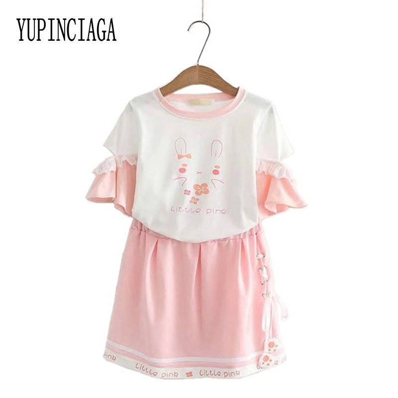 Women's Sets Kawaii O-Neck Print T-shirt And Pink Mini Skirts 2020 Spring New Cute Sweet Style Student 2 Piece Set YUPINCIAGA