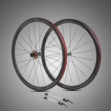 ฿ Ultra light 700C ล้อคาร์บอนไฟเบอร์ HUB 4 ปิดผนึกแบริ่งอลูมิเนียม 36mm ขอบที่มีสีสันรูปลอกแผนที่จักรยานล้อชุด