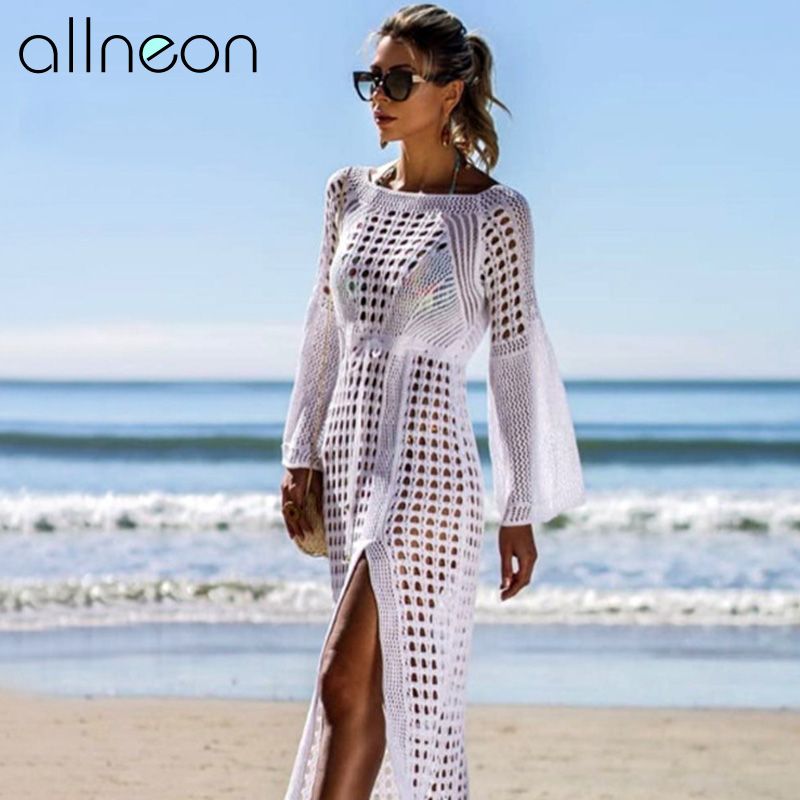 QUEVOON Beachwear Women Flare Sleeve Hollow Out Slit Swim Cover Up Swimsuit Cape Ladies Fashion White Beach Dresses Swimwear