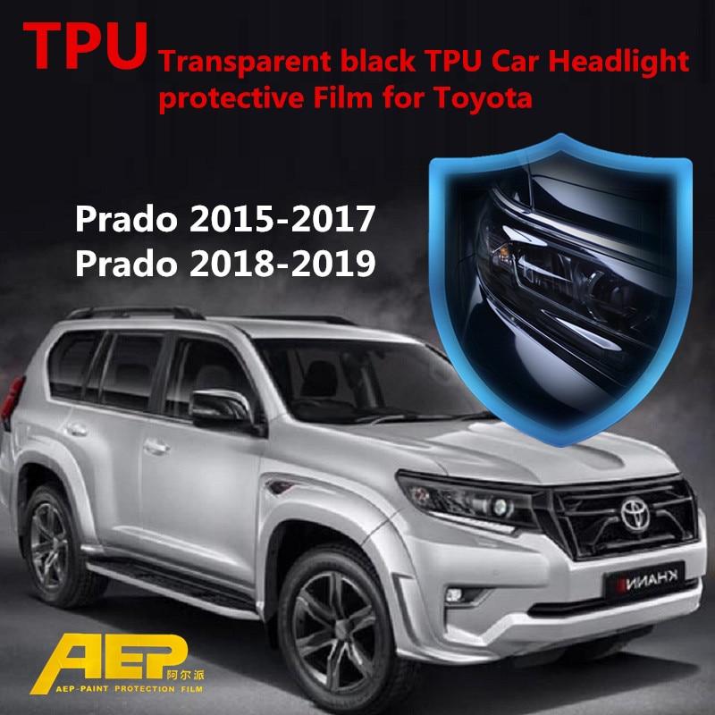 AEP 2017 Transparent Black TPU Car Headlight Protective Film For Toyota Land Cruiser Prado 2015 2016 2017 2018 2019 Sticker 150