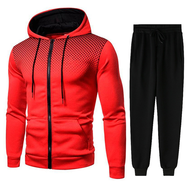 Men Gradient Zip Cardigan Suit Tracksuits Spring Autumn Hoodie Jogging Trousers Fitness Casual Clothing Sportswear Set Plus Size 2