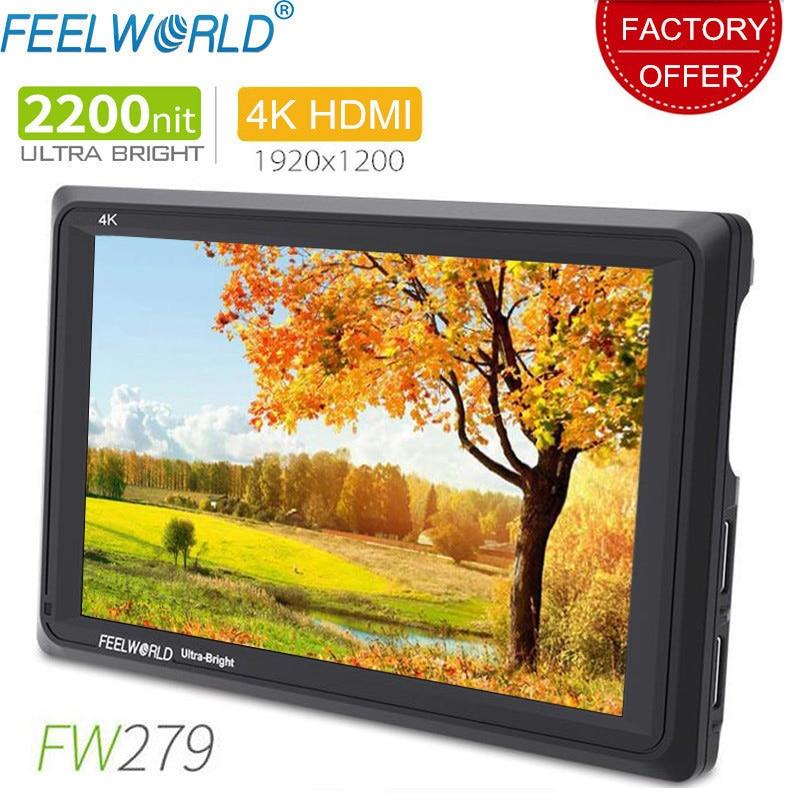 Feelworld fw279 7 Polegada ips 2200 lêndeas câmera monitor de campo 4k saída entrada hdmi 1920x1200 lcd monitor para dslr stablizer