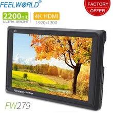 Feelworld fw279 7 Polegada ips 2200nits, câmera para monitoramento de área externa, 4k, entrada hdmi, saída 1920x1200, monitor lcd para dslr