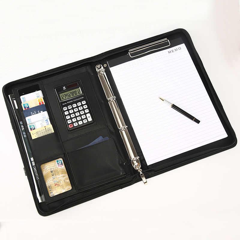 A4 ملف مجلد مجلد حلقة Padfolio Fichario مدير المحمولة حقيبة مكتب منظم وثائق حقيبة حاسبة الايداع المنتجات