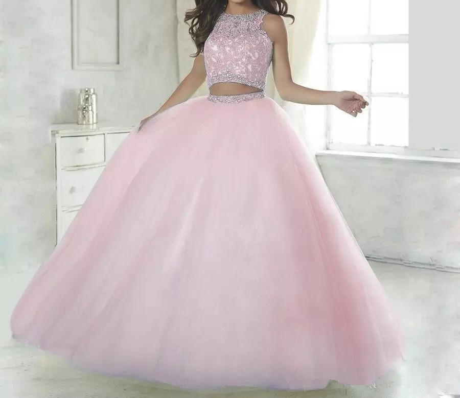 Two Piece Lace Ball gown Quinceanera Dresses 2019 vestidos de 15 anos Floor Length Long Appliques Lace Sweet 16 Prom Dresses