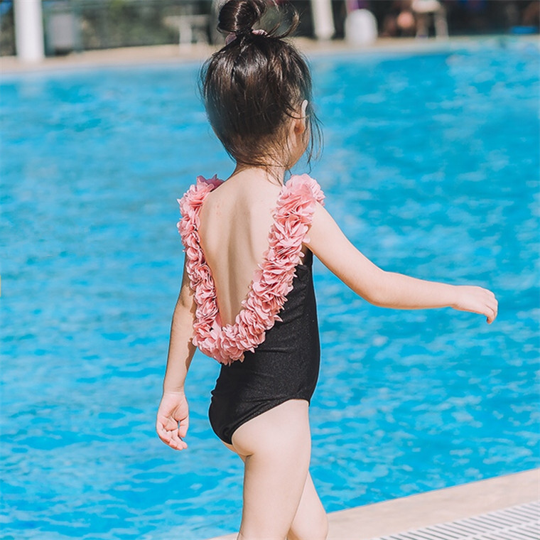 INS Children High Set Stereo Flower Petal Backless GIRL'S One-piece Swimming Suit Parent And Child Hot Springs